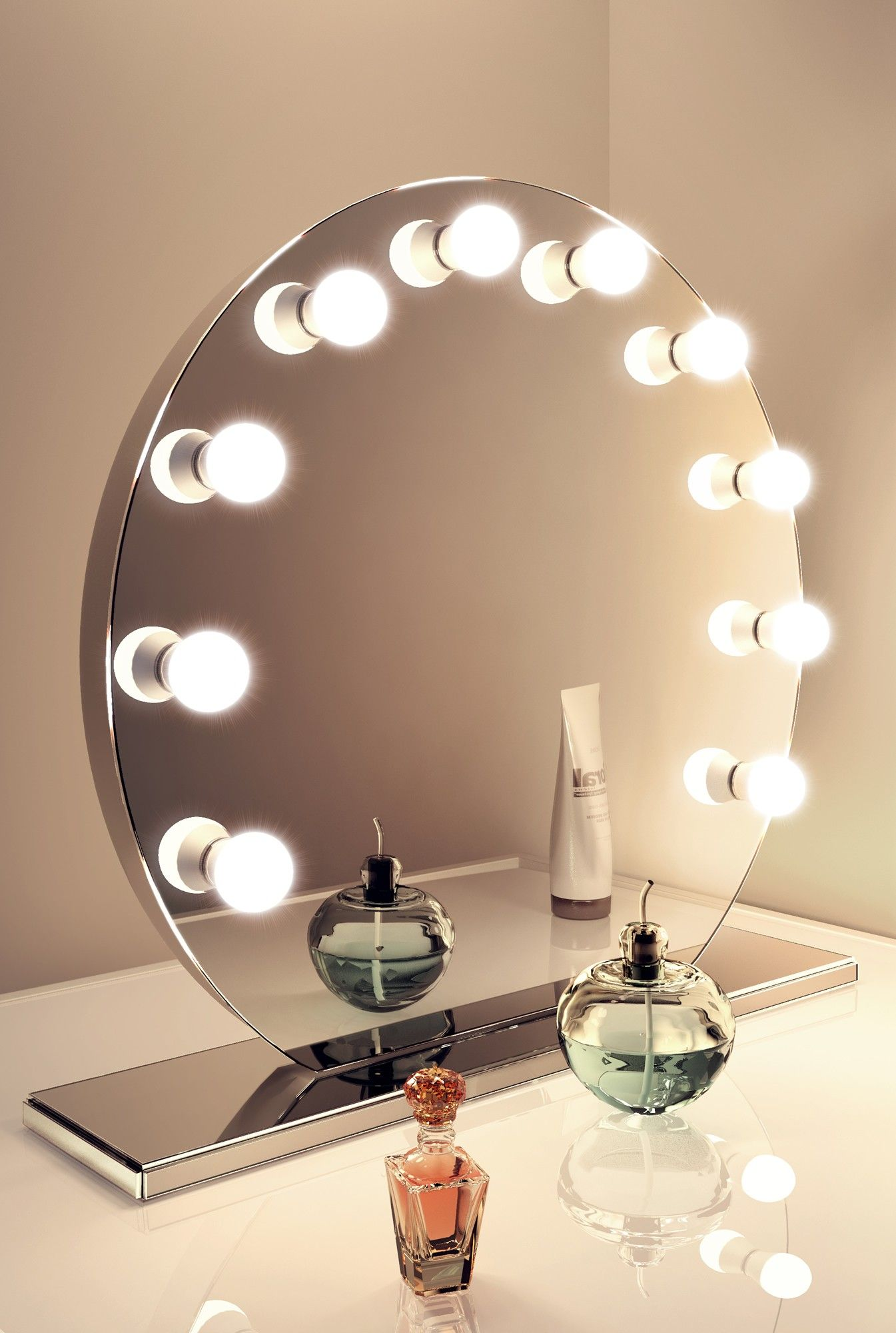 Mirror Finish Hollywood | Table Top | Dia:700mm x Depth:60mm - Illuminated Mirrors