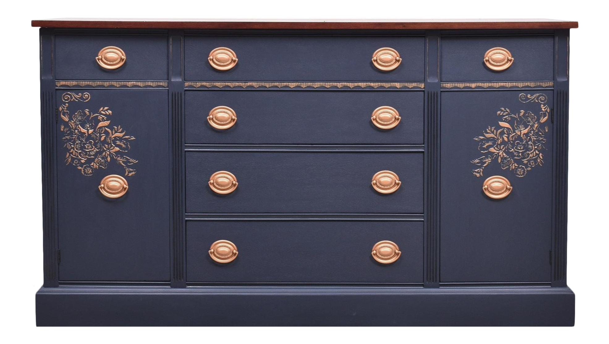 Buffet Sideboard Blue Coastal Blue Mahogany And Copper Buffet Credenza Sideboard In 2018