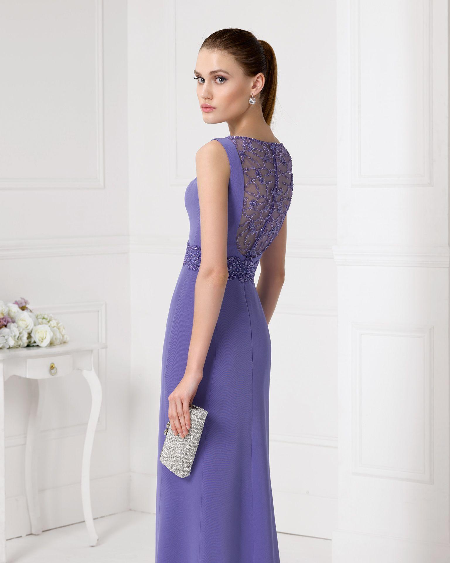 9U154 vestido de fiesta en crepe y pedreria. | Vestidos Sara ...