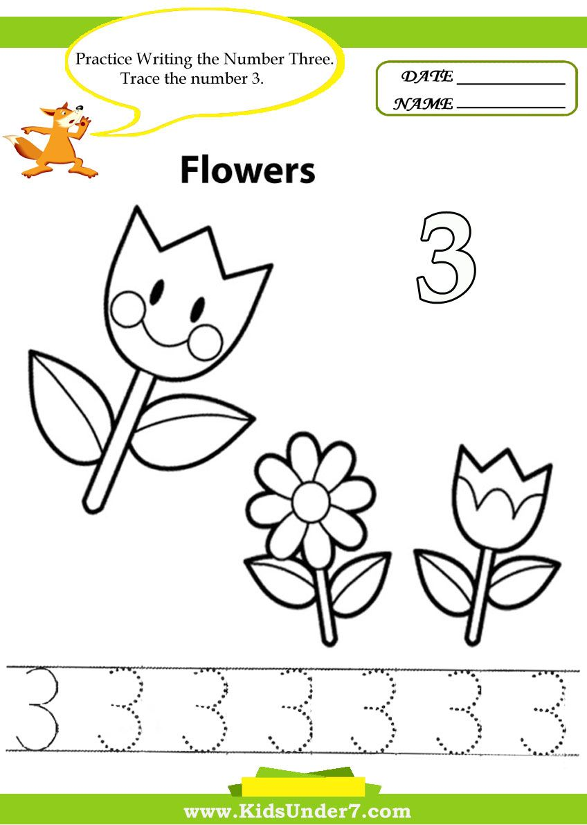 Kids Under 7 Number Tracing 110 Worksheet Part 1 – Number 3 Worksheets