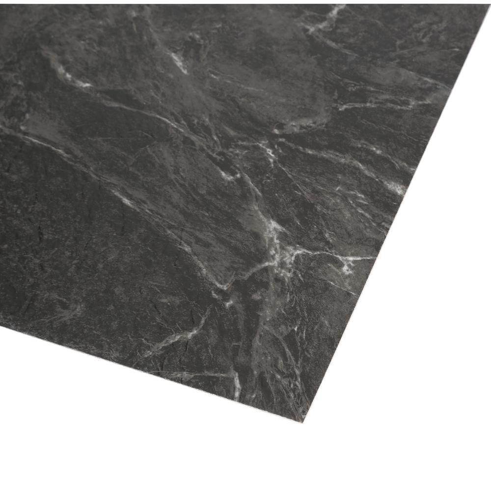 Trafficmaster Black Marble 12 In X 12 In Peel And Stick Vinyl Tile 30 Sq Ft Case 26321061 The Home Depot In 2020 Vinyl Tile Black Marble Peel And Stick Vinyl