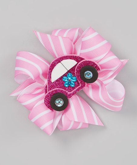 Pink & White Car Bow Clip