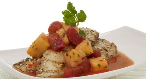 Hot & Sour Tilapia with Gingered Rhubarb Sauce