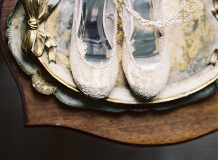 I am in love!!! lace-ballet-flats-wedding-shoes-tiara-florintine-tray-wood-gold