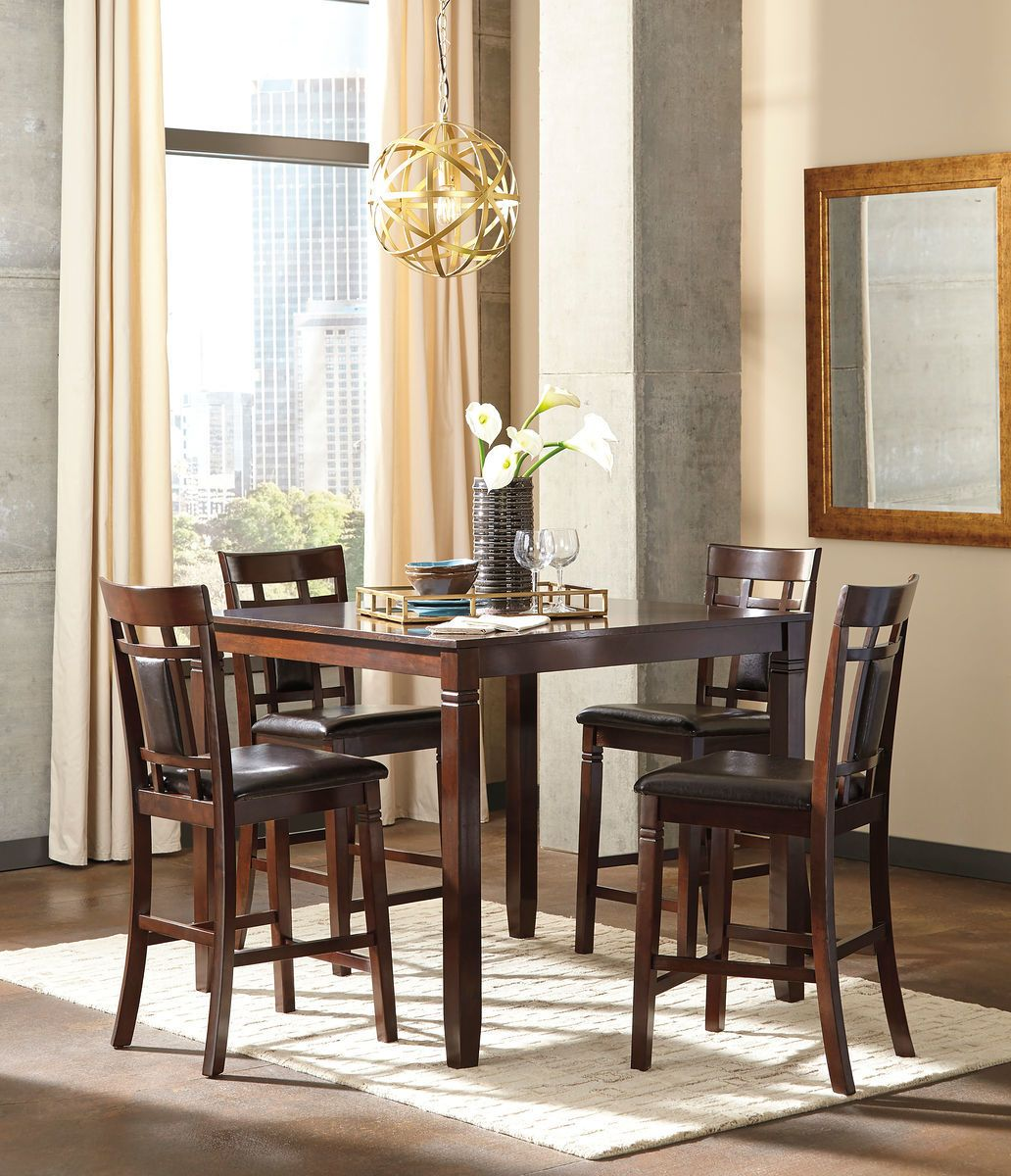 Ashley Bennox Brown Dining Room Counter Table Set Design Counter
