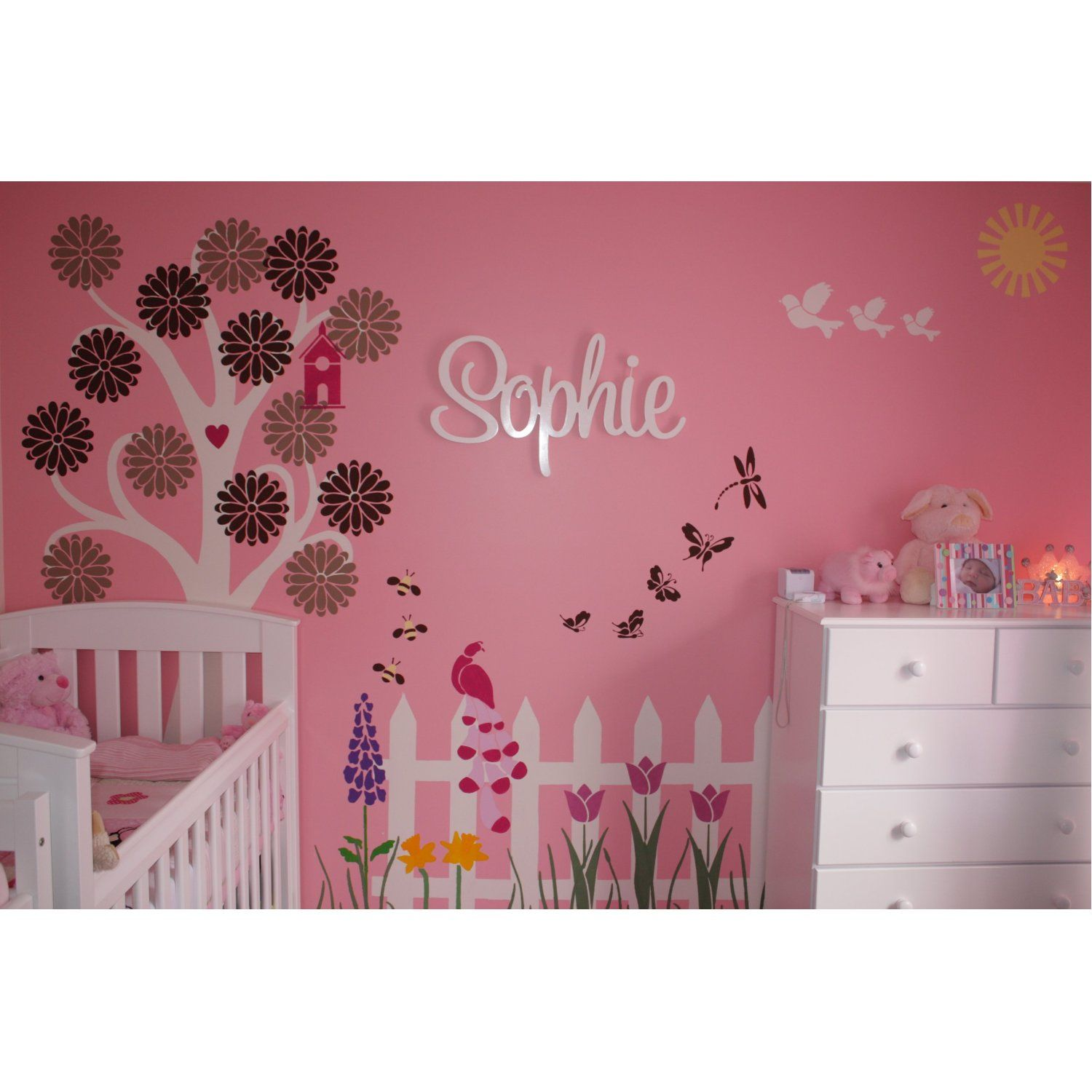 Amazon.com: Girls Wall Decor   Flower Garden Theme Wall Mural   Wall  Stencils