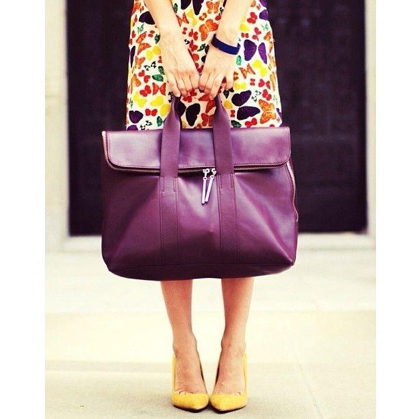 purple bag. yellow shoes? yep