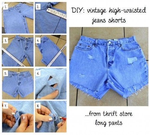 High waisted denim shorts diy