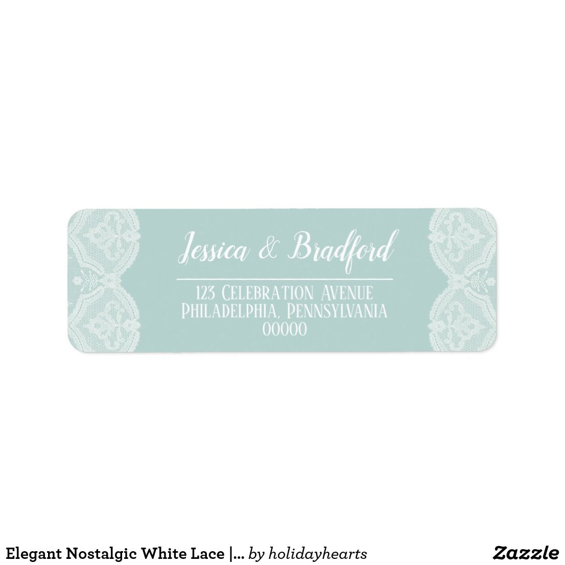 Elegant Nostalgic White Lace | Turquoise Wedding Label | Wedding ...