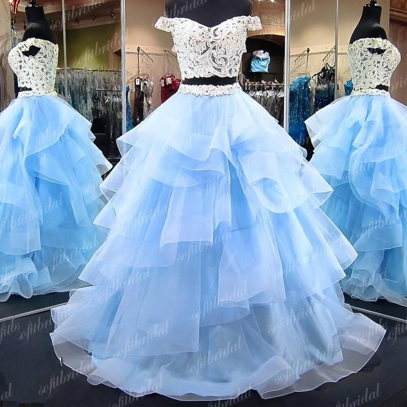 2 Pieces Off Shoulder Lace Prom Dresses Light Blue Tulle Prom