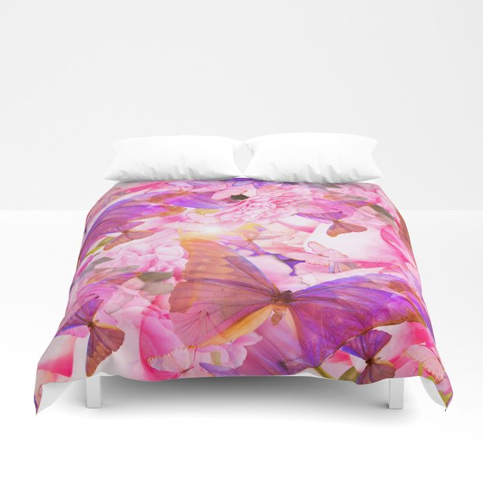 A Summer Dream Where Pink And Violet Butterflies Flying #decor #society6 #pivivikstrm Duvet Cover