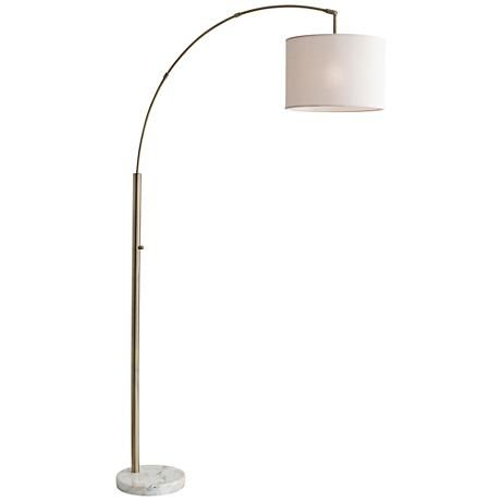 Bowery antique brass adjustable arc floor lamp lamps plus 170