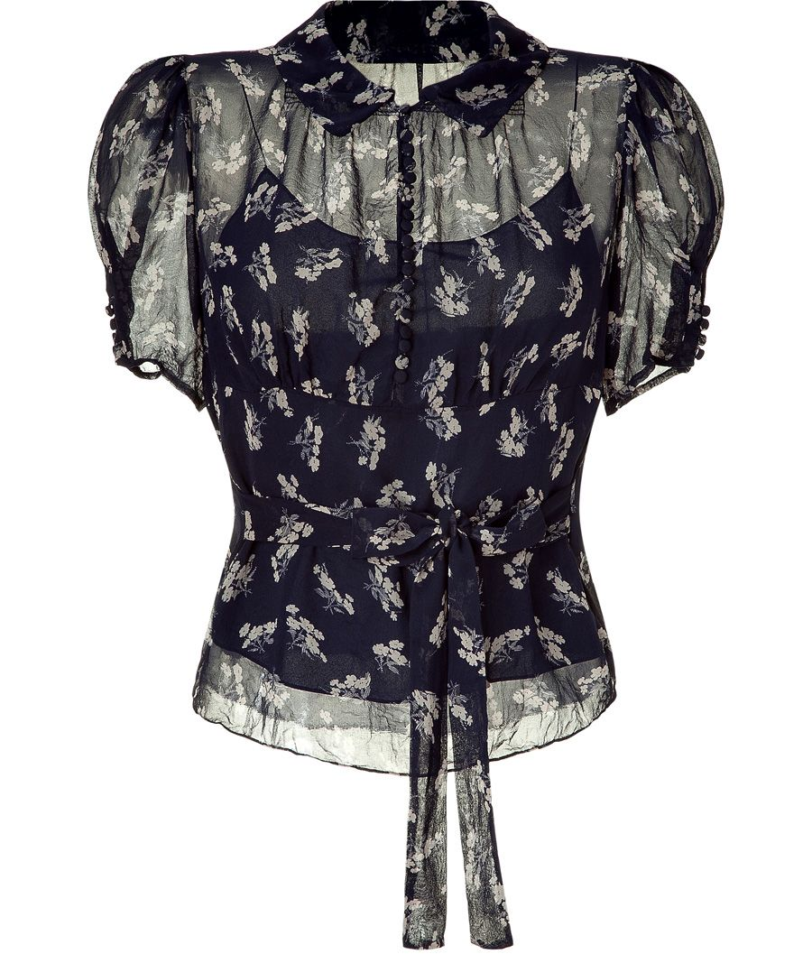 1930s dresses fashion Suplice floral 1930's printed silk georgette top