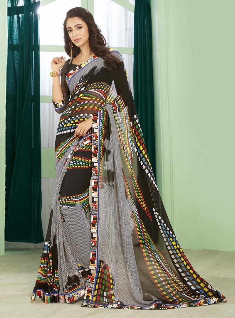 Yellow colour saree images gray georgette printed saree with blouse   georgette saree