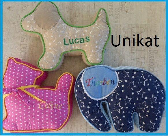 Kissen - Kissen mit Namen Elefant Hund Katze - ein Designerstück von burgelfe1 bei DaWanda