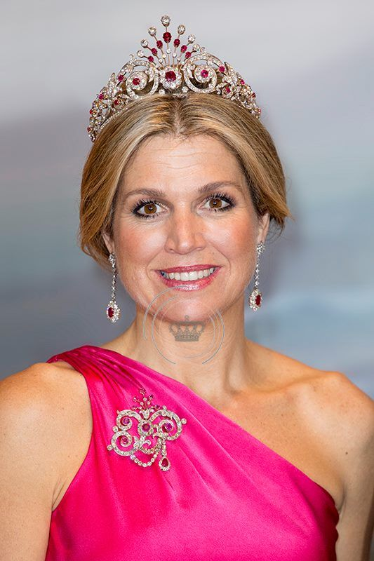 Queen Maxima Of The Netherlands Wearing The Diamond And Ruby Peacock Tiara On A Trip To Canada And Looking Very Fine With It
