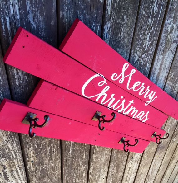 20 Magnolia Christmas Decor Ideas To Try: Merry Christmas Stocking Holder Stocking Hanger Wooden