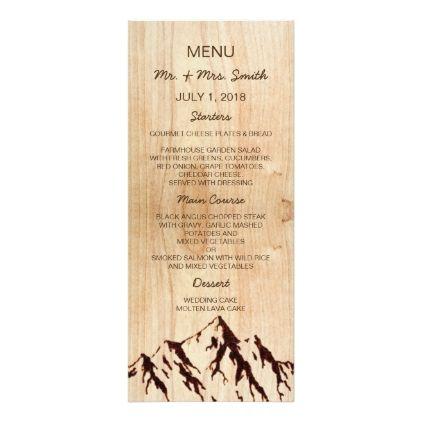 Burnt Mountain in Wood Rustic Wedding Menu Card - rustic gifts ideas ...