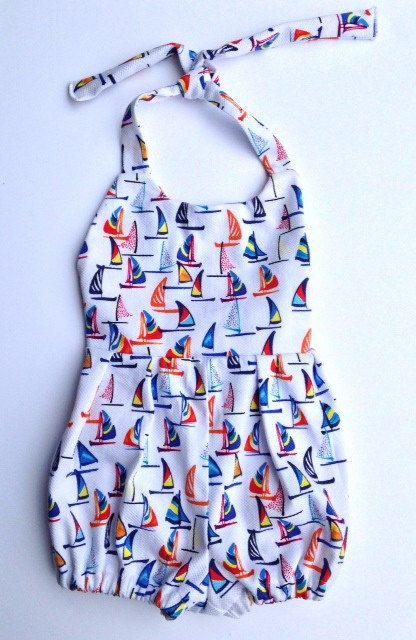 81221293d Toddler Romper - Girls Sailboat Romper - Size 3-4T- Lakeside Romper ...