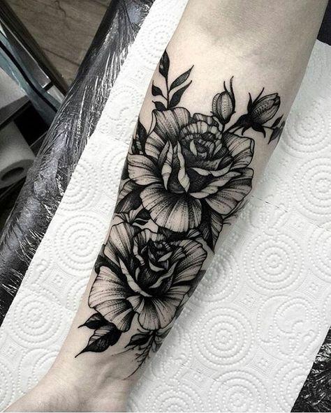 Blackwork floral forearm tattoo by @dmitriy.tkach | tattoo ...