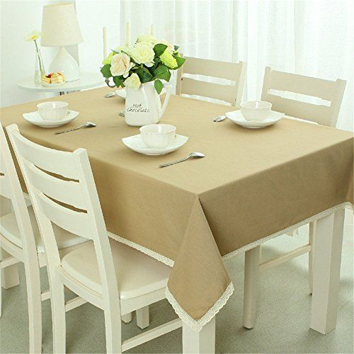 SNW Spring Style Solid Color Pastoral Style Tablecloth Rectangle Tablecloth  Exquisite Lace Edge Shopping New World