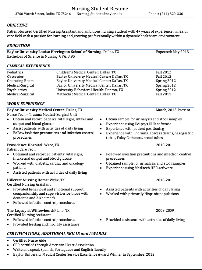 Certified Nursing Student Resume Sample Nursing resume