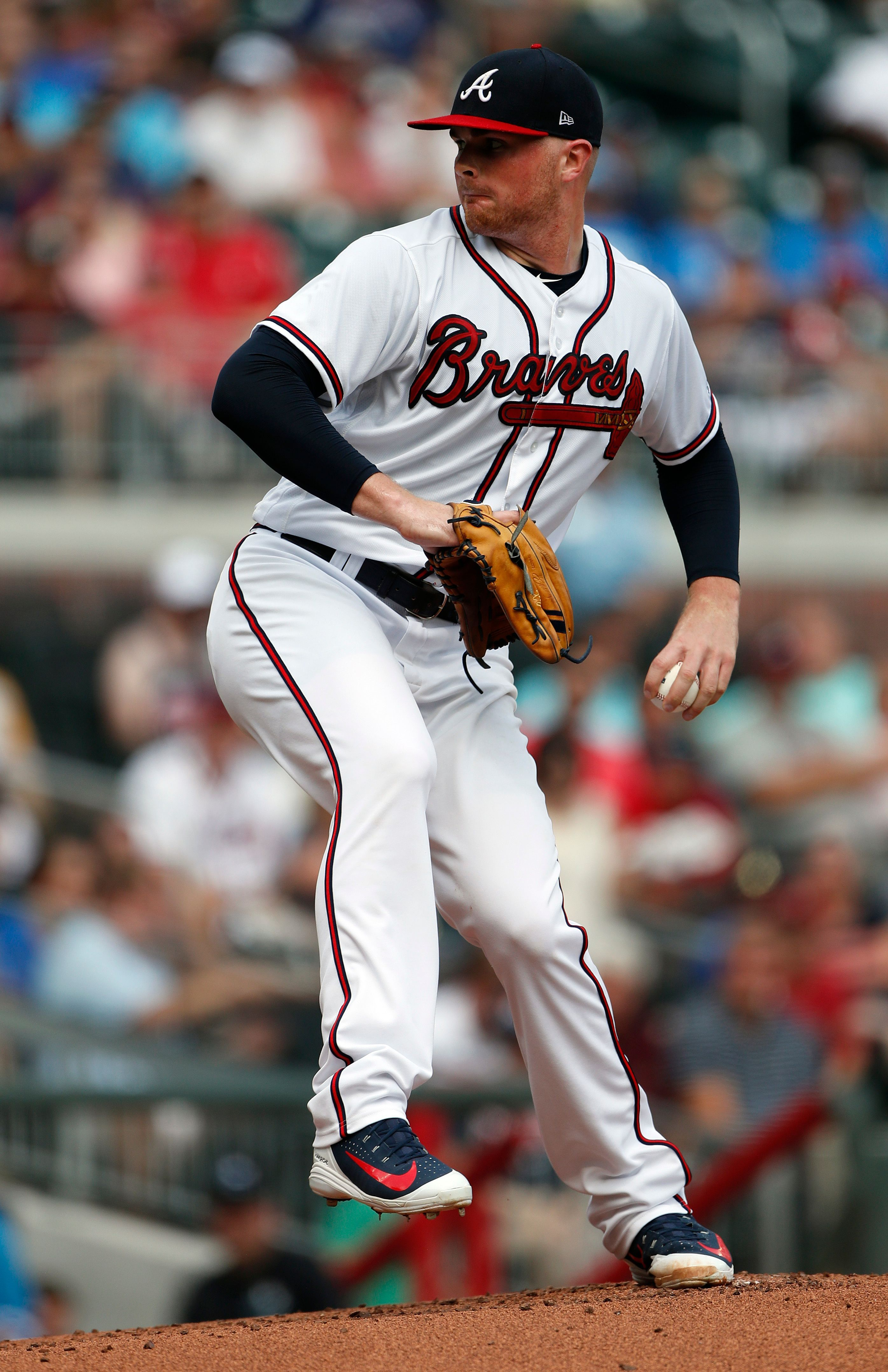 Atlanta Braves Starting Pitcher Sean Newcomb Works In The First Inning Of A Baseball Game Against The Arizona Diam Atlanta Braves Arizona Diamondbacks Baseball