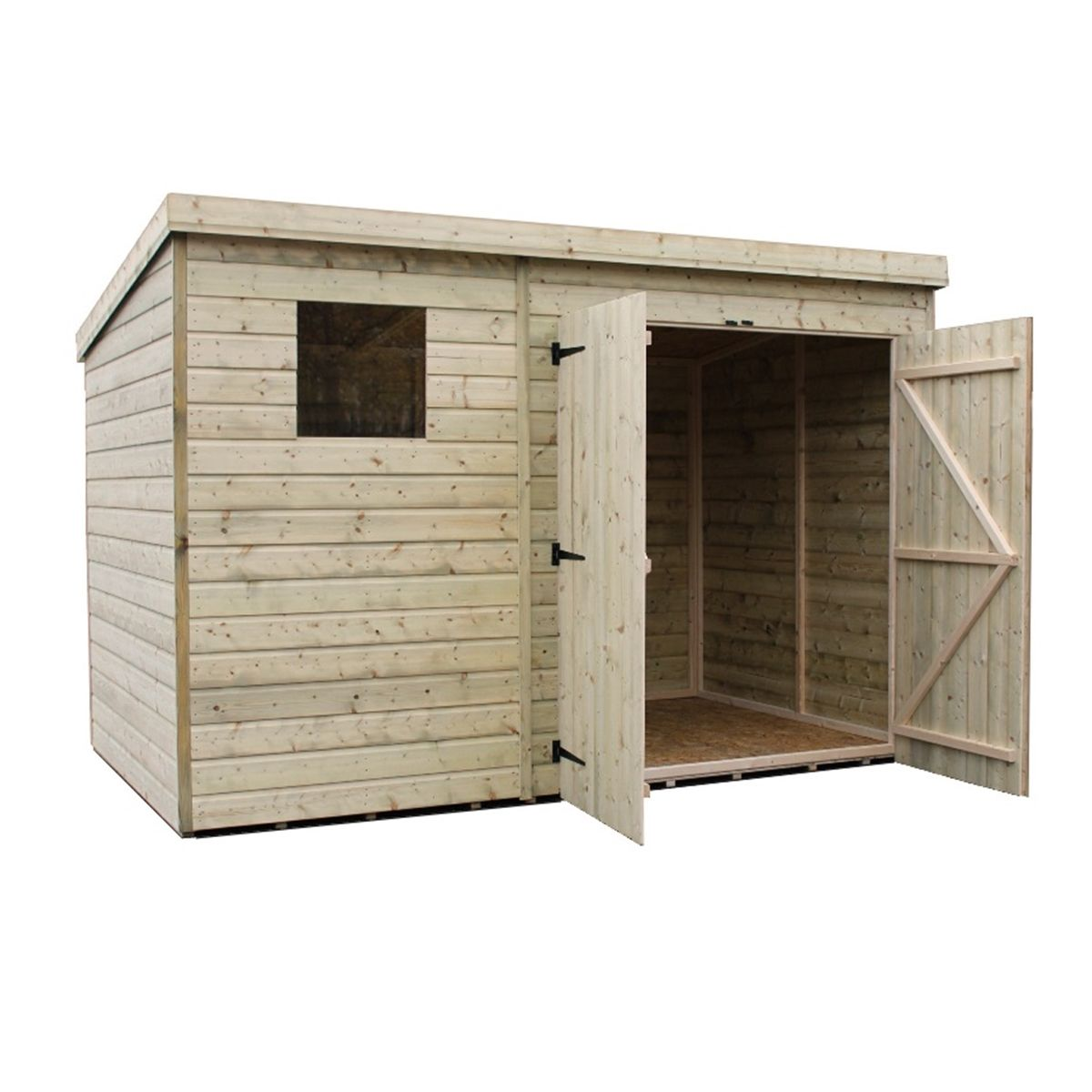 10 X 4 Pressure Treated Tongue And Groove Pent Shed With 1 Window And Double Doors Safety Toughened Glass Diy Shed Plans Building A Shed Shed