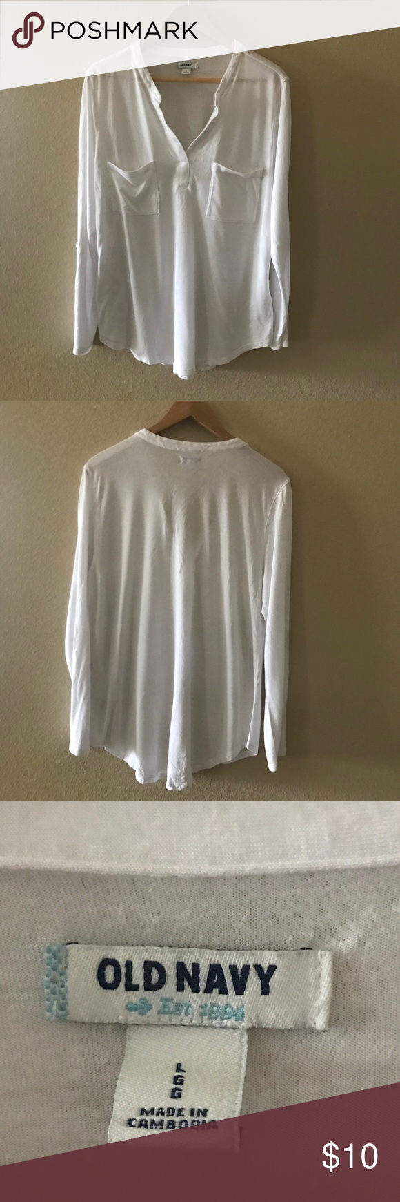 Old Navy White Shirt Great Condition Thank You For Shopping My Closet ❤ Old  Navy Tops Tees - Long Sleeve 3c8d29004