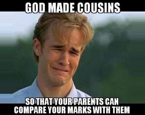 Funny Memes For Cousins : Parents compare your marks with cousins funny memes