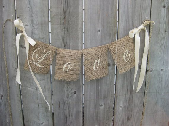 Love Script Font Burlap Wedding Banner Photo Prop With Bows Pretty Shabby Chic White Decor Outdoor Barn Farm Rustic On Etsy 11 00
