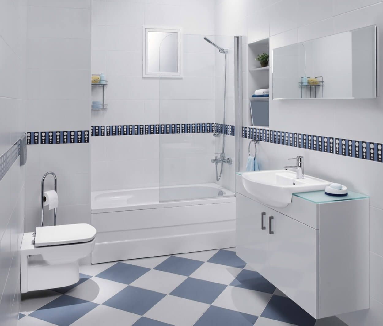 Blue And White Patterned Floor Tiles With Coordinating Border ...