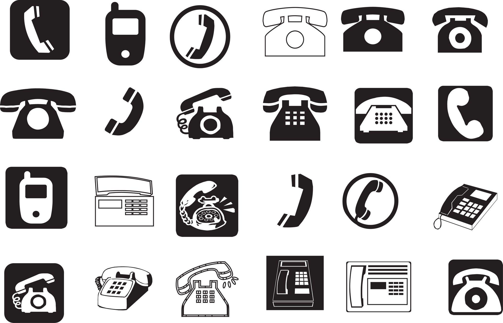 telephone pictogram Pictogram, Retro, set