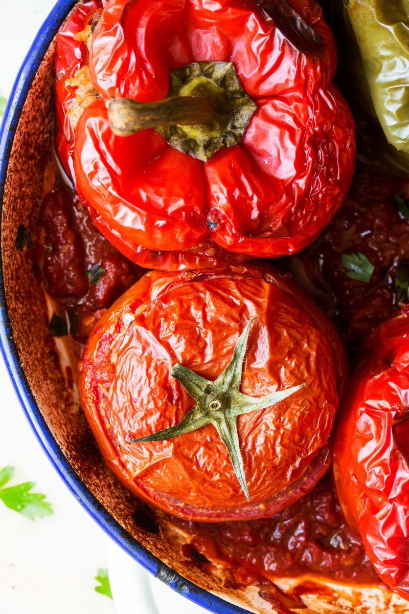Yemista Greek Stuffed Peppers And Tomatoes Lazy Cat Kitchen Recipe Stuffed Peppers Greek Stuffed Peppers Yemista Recipe