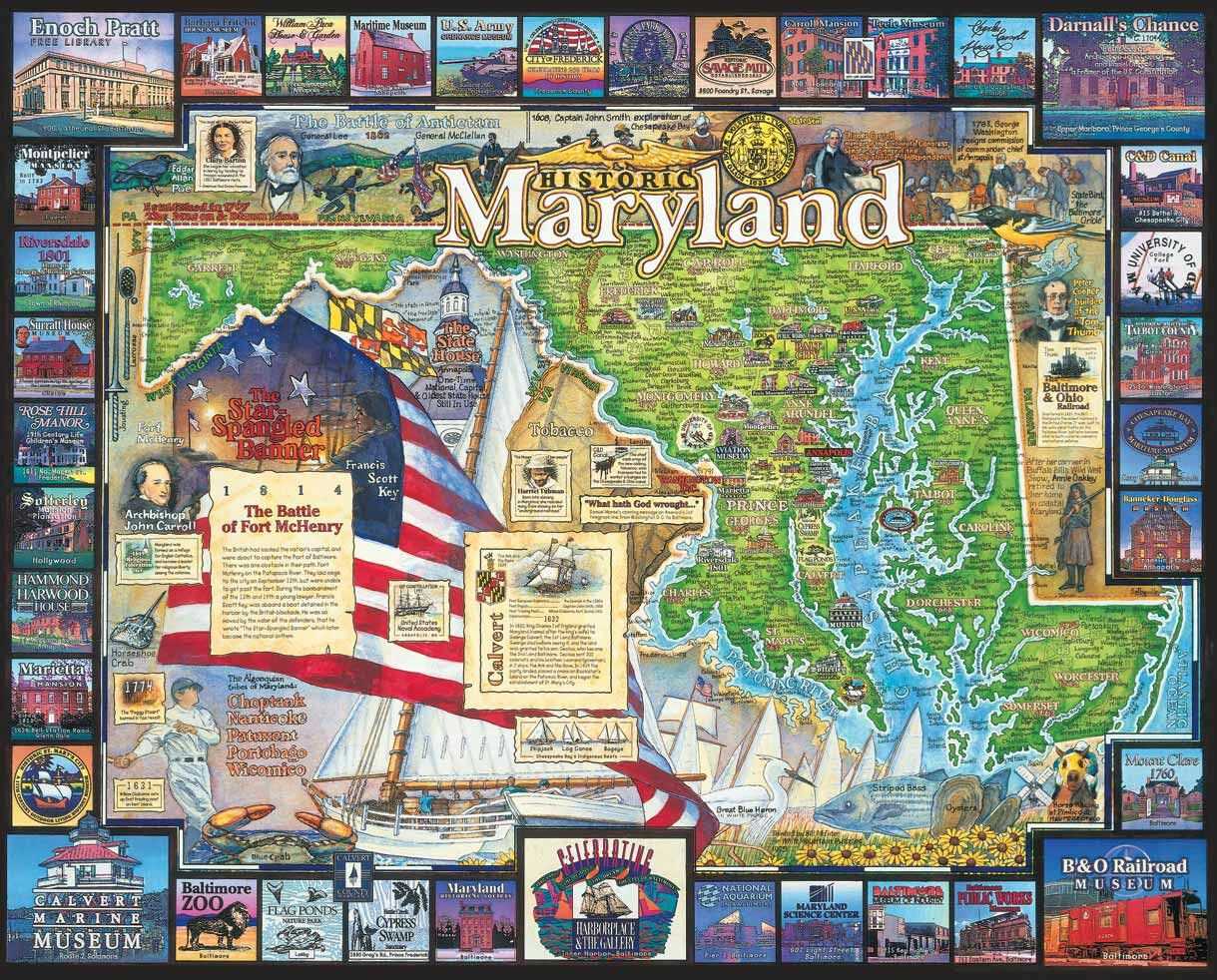 Puzzle 1000 Jigsaw Puzzles Maryland Postcards Pc