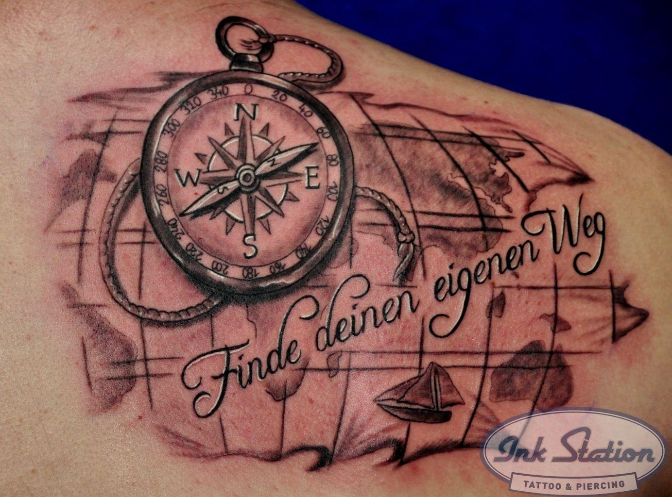 mix tattoos ink station kompas landkarte lettering map landkartentattoo tattoo tattooed. Black Bedroom Furniture Sets. Home Design Ideas