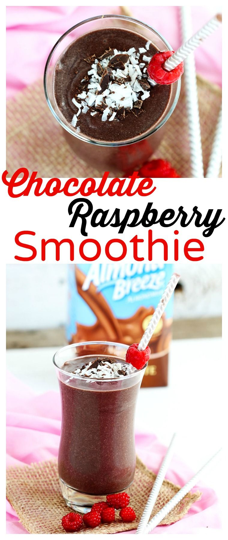 Chocolate raspberry smoothie delicious blend of frozen