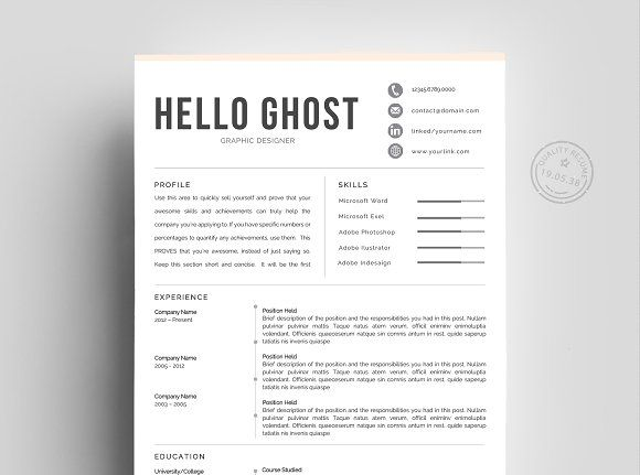Creative Resume Template 4 Pages Pinterest Creative resume