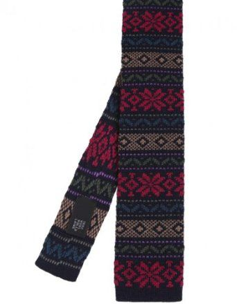 Ascot Accessories knitted wool Fair Isle tie in navy. £34.99 ...
