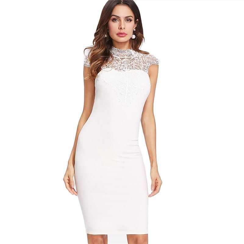 8bf9620933 Sheinside White Contrast Lace Pencil Dresses Bow Tie Cutout Back Women Sexy  Bodycon Dress 2018 Summer