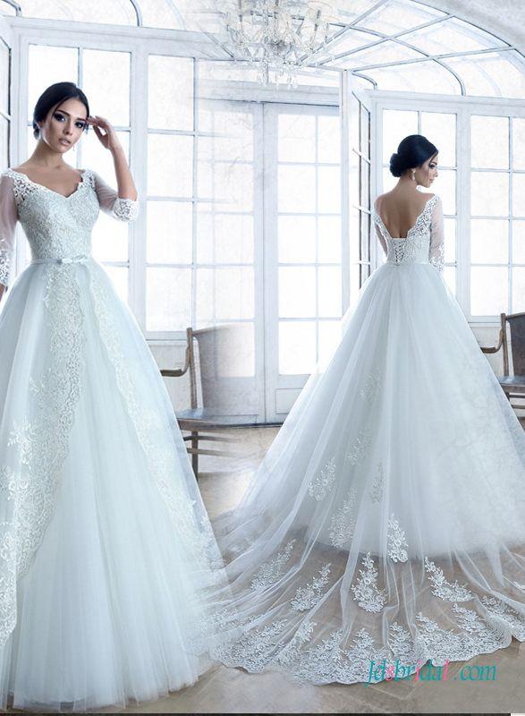 Modest Illusion Lace Long Sleeves Princess Wedding Dress