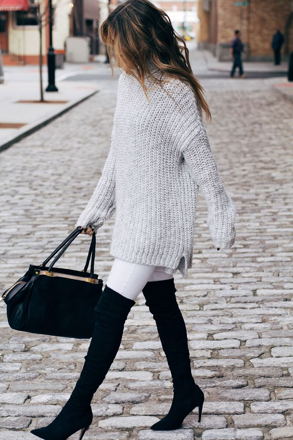 Grey chunky knit sweater, white denim, black over the knee boots…