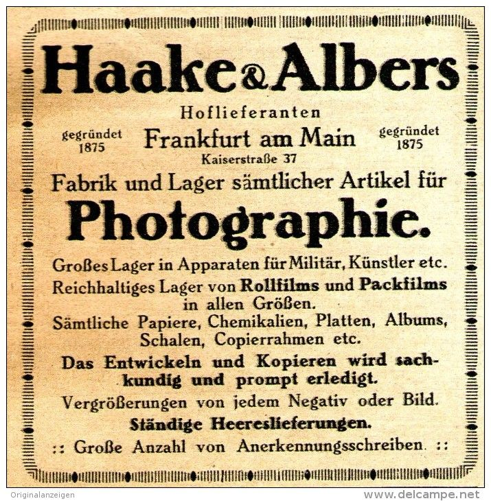 Original-Werbung/ Anzeige 1917 - HAAKE & ALBERS / PHOTOGRAPHIE / FRANKFURT…