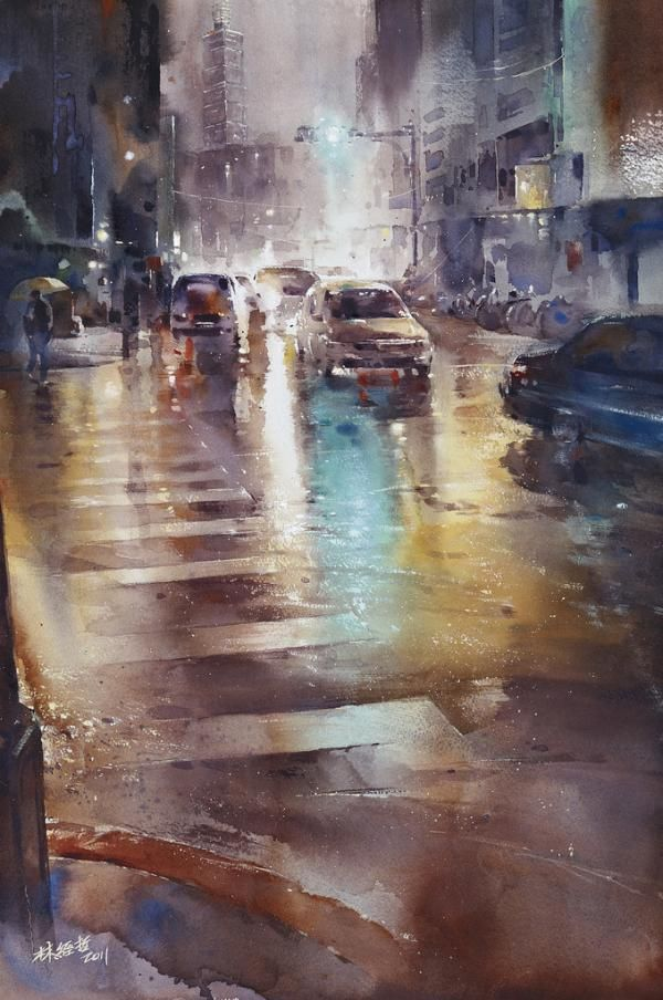 Lin Chin Che est un jeune artiste taïwanais (né en 1987). Il peint souvent des scènes de rue sous la pluie.