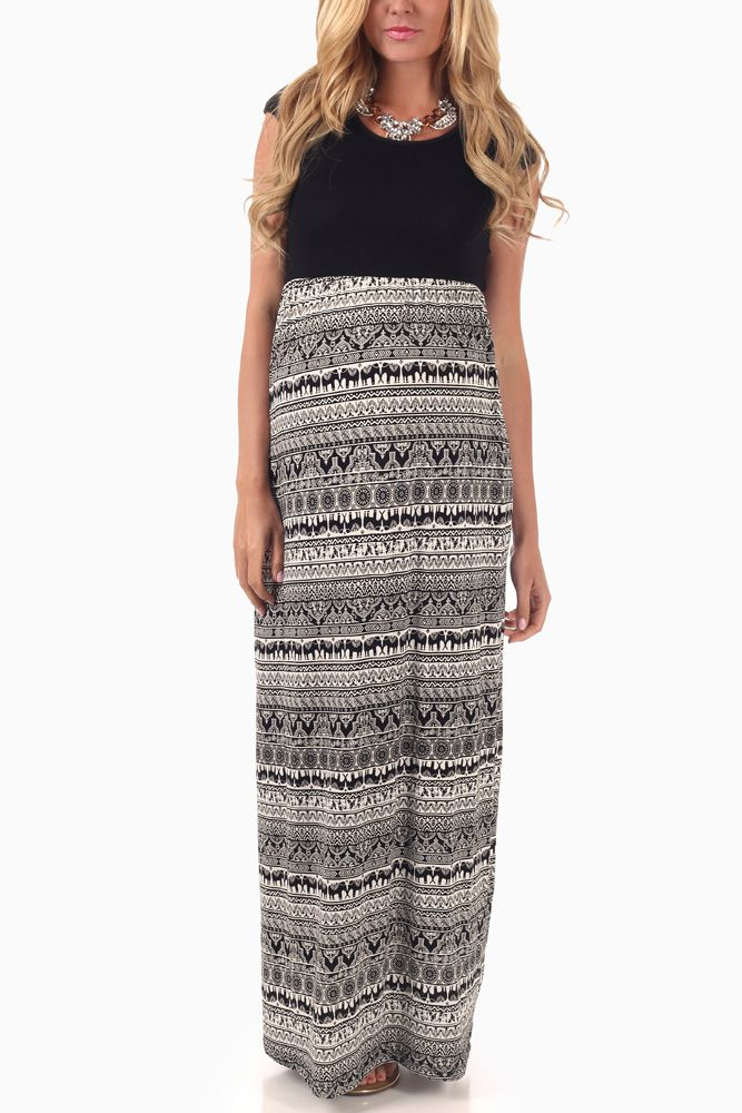 887f5b43c3 PinkBlush - Where Fashion Meets Motherhood. Black-White-Elephant-Print- Maternity-Maxi-Dress #maternity #fashion