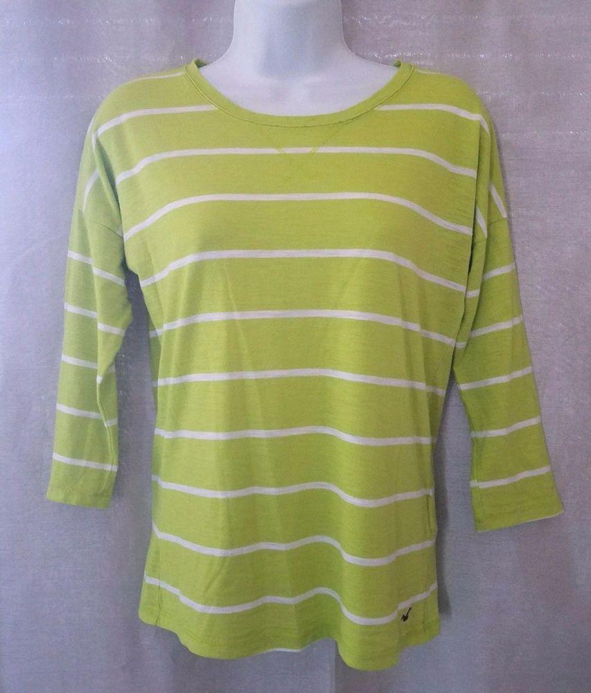 Hollister flannel shirts womens  Hollister Womenus  Dolman Sleeve Light Green Striped T Shirt Size