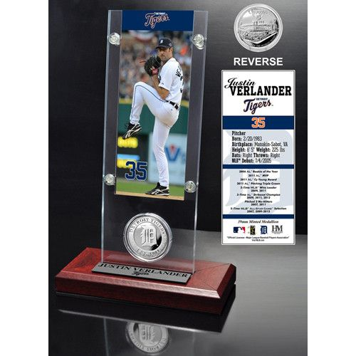 Detroit Tigers MLB Justin Verlander Ticket and Minted Coin Desk Top Acrylic