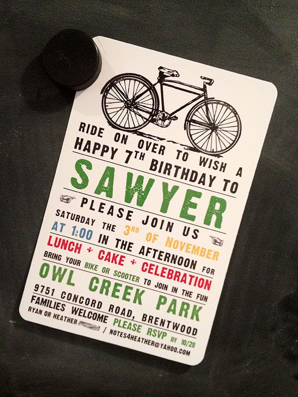 happy birthday invitation pictures%0A Sawyer asked for a Bike birthday party this year  I worried we were pushing  our luck with another outdoor party in November   but we ende