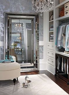 Walk In Closet With A Gigantic Mirror Gorgeous Chandelier Glam Up My