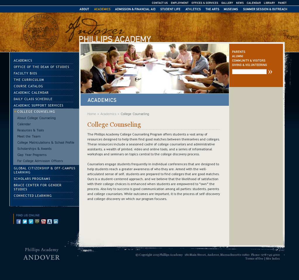College Counseling Andover College counseling